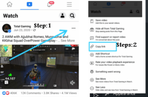 how to copy link from facebook video